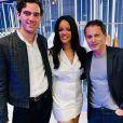 """Fortuné Penniman (frère du chanteur Mika), Rihanna et Marc-Olivier Fogiel au cocktail de lancement de """"Fenty"""". Paris, le 22 mai 2019."""