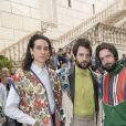 Andrea Carpenzano et des amis arrivent au Musei Capitolini pour assister au défilé Gucci, collection croisière 2020. Rome, le 28 mai 2019.