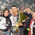 Cristiano Ronaldo, sa compagne Georgina Rodriguez et sa mère Maria Dolores dos Santos Aveiro - C. Ronaldo fête en famille le titre de champion d'Italie avec son équipe la Juventus de Turin à Turin le 19 Mai 2019.