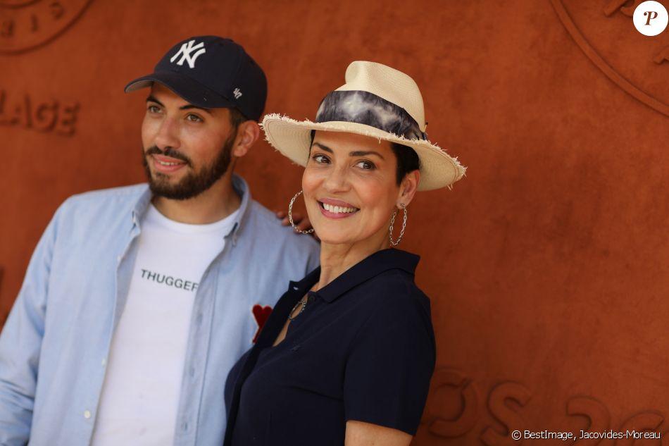Cristina Cordula son fils Enzo au village lors des internationaux de tennis de Roland Garros à Paris, France, le 2 juin 2019. © Jacovides-Moreau/Bestimage