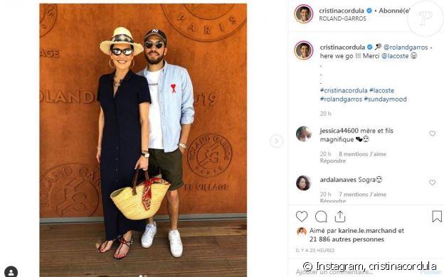 Cristina Cordula avec son fils Enzo à Roland-Garros le 2 juin 2019.