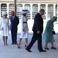 La reine Elisabeth II d'Angleterre, Donald Trump et sa femme Melania, le prince Charles et Camilla Parker Bowles, duchesse de Cornouailles - Le président des Etats-Unis et sa femme accueillis au palais de Buckingham à Londres. Le 3 juin 2019
