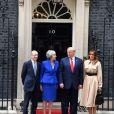 Donald Trump et sa femme Melania, Theresa May et son mari Philip May - Accueil du président des Etats-Unis et de sa femme par la première ministre britannique et son mari au 10 Downing Street à Londres. Le 4 juin 2019