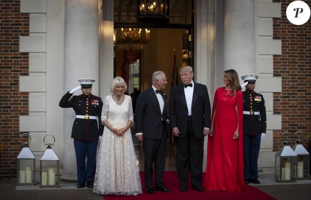 Donald Trump et sa femme Melania Trump avec le prince Charles et Camilla Parler Bowles, la duchesse de Cornouailles - Dîner en l'honneur du président D. Trump à la Winfield House, Londres, lors de sa visite officielle au Royaume Uni, le 4 juin 2019.