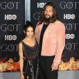 "Lisa Bonet et son mari Jason Momoa à la première de ""Game of Thrones - Saison 8"" au Radio City Music Hall à New York, le 3 avril 2019."
