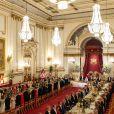 Vue de la salle de bal au palais de Buckingham le 3 juin 2019 pour le dîner de gala donné par la reine Elizabeth II en l'honneur de la visite officielle du président Donald Trump et de sa femme Melania.