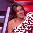 """Jenifer très stylée dans son top Yves Saint Laurent pour la finale de """"The Voice 8"""" sur TF1, le 6  juin 2019."""