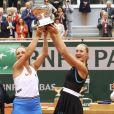 Timea Babos et Kristina Mladenovic ont remporté la finale du double dames lors des internationaux de France de tennis de Roland-Garros 2019 à Paris le 9 juin 2019 © Gwendoline Le Goff / Panoramic / Bestimage