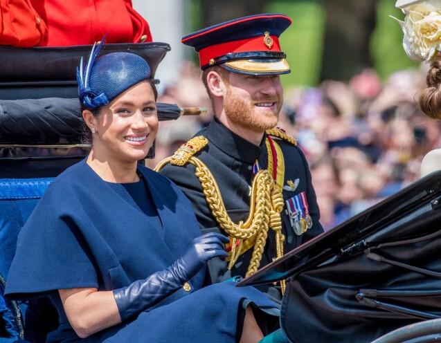 Le prince Harry, duc de Sussex, et Meghan Markle, duchesse de Sussex, première apparition publique de la duchesse depuis la naissance du bébé royal Archie lors de la parade Trooping the Colour 2019, célébrant le 93ème anniversaire de la reine Elisabeth II, au palais de Buckingham, Londres, le 8 juin 2019. T