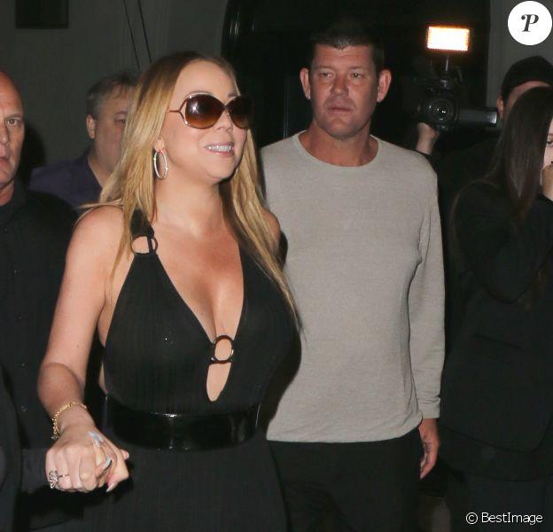 Exclusif - Mariah Carey et James Packer quittent le restaurant Craig à West Hollywood le 7 août 2016. © CPA /Bestimage