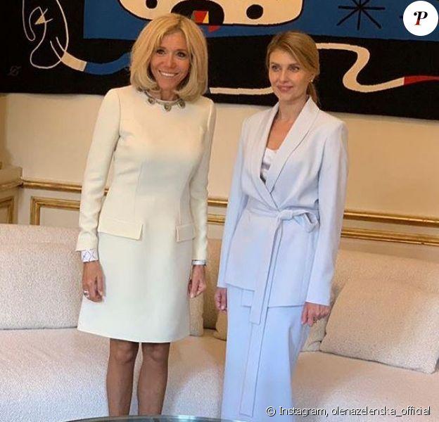 Brigitte Macron a reçu la première dame ukrainienne Olena Zelenska au palais de l'Elysée, à Paris, le 17 juin 2019.