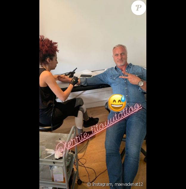 David Ginola s'est fait tatouer dans un salon de Londres le 18 juin 2019.