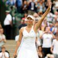 Maria Sharapova à Wimbledon durant un match l'opposant à Viktoriya Kutuzova le 22 juin 2009