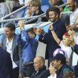 David Beckham avec sa fille Harper et sa mère Sandra Georgina West dans les tribunes lors du quart de finale de la Coupe du Monde Féminine de football opposant l'Angleterre à la Norvège au stade Océane au Havre, France, le 27 juin 2019. L'Angleterre a gagné 3-0. © Gwendoline Le Goff/Panoramic/Bestimage