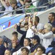 David Beckham avec sa fille Harper, sa mère Sandra Georgina West et Sue Campbell dans les tribunes lors du quart de finale de la Coupe du Monde Féminine de football opposant l'Angleterre à la Norvège au stade Océane au Havre, France, le 27 juin 2019. L'Angleterre a gagné 3-0. © Gwendoline Le Goff/Panoramic/Bestimage