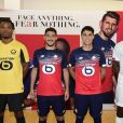 Loïc Remy, Jérémy Pied, Luiz Araujo et Boubakary Soumare lors de la soirée de présentation des nouveaux maillots du LOSC par l'équipementier New Balance pour la saison 2019-2020 à Lille le 4 juillet 2019.