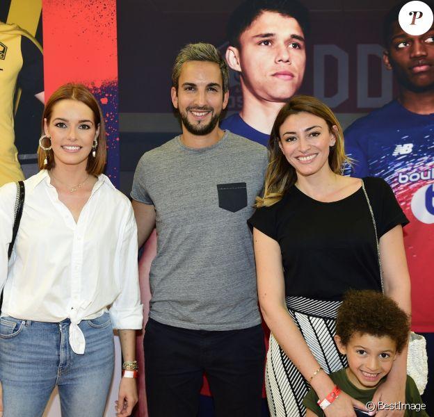 Thibaud Vézirian, Maëva Coucke (Miss France 2018) et Rachel Legrain-Trapani (Miss France 2007) avec son fils Gianni lors de la soirée de présentation des nouveaux maillots du LOSC par l'équipementier New Balance pour la saison 2019-2020 à Lille le 4 juillet 2019.