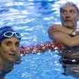 Estelle Denis et Jacques Monclar lors du Challenges Swimming Heroes pour l'UNICEF lors du meeting Olympique à la piscine de Courbevoie, France, le 24 février 2019. © Pierre Perusseau/Bestimage