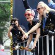 Megan Rapinoe lors de la parade de la victoire de l'équipe américaine de football après leur victoire en coupe du monde de football féminin à New York le 10 juillet 2019