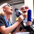 Megan Rapinoe - Les membres de l'équipe féminine de football américaine lors d'une parade de la victoire sur Broadway à New York le 10 juillet 2019. © Sonia Moskowitz/Globe