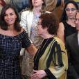 La reine Letizia d'Espagne assiste au congrès international de l'Association internationale d'études sur la communication sociale au Palais de la Zarzuela à Madrid le 16 juillet 2019.