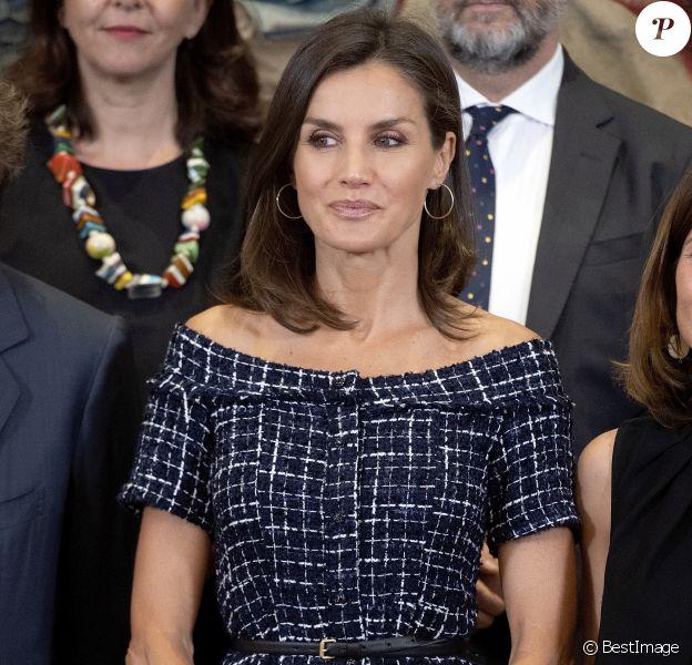 La reine Letizia d'Espagne assiste au congrès international de l'Association internationale d'études sur la communication sociale au Palais de la Zarzuela à Madrid, le 16 juillet 2019.