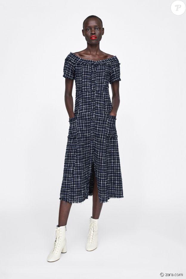 La robe Zara portée par Letizia d'Espagne le 16 juillet 2019 à Madrid.