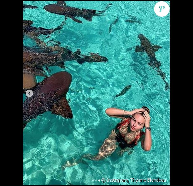 Thylane Blondeau aux Bahamas. Avril 2019.