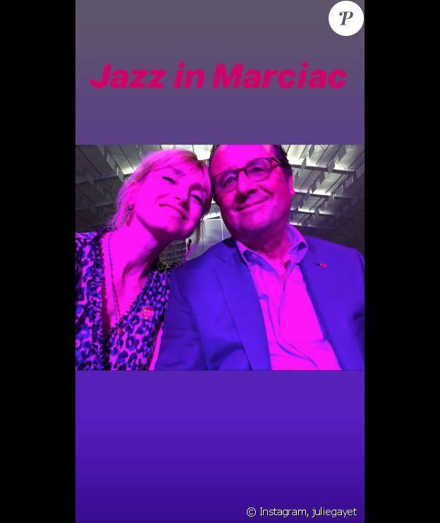 Julie Gayet et François Hollande lors du festival Jazz in Marciac, le 28 juillet 2019.