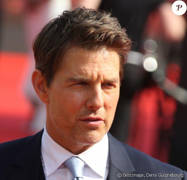 """Tom Cruise à l'avant-première mondiale de """"Mission: Impossible Fallout"""" sur la place du Trocadéro à Paris, le 12 juillet 2018. © Coadic Guirec-Denis Guignebourg/Bestimage"""