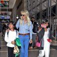 Semi-exclusif - Laeticia Hallyday et ses filles Jade et Joy arrivent à l'aéroport de LAX à Los Angeles pour prendre un vol pour la France le 13 juin 2019. Laeticia a enregistré ses baggages au comptoir d'Air France avant de retirer de l'argent à un distributeur automatique de billets pour donner un pourboire au porteur de ses valises. Laeticia Hallyday sera présente le samedi 15 juin à Toulouse pour l'inauguration de l'esplanade qui portera le nom de Johnny Hallyday, devant la salle de concert du Zénith. Elle passera par la suite une dizaine de jours en France avant de repartir pour Saint-Barthélemy.