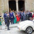 Exclusif - Le roi Felipe VI d'Espagne assistait le 10 septembre 2017 au mariage de Martina Jaudenes, sa filleule, et de Luis Abascal, célébré à Palma de Majorque.