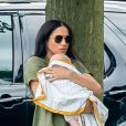 Meghan Markle, duchesse de Sussex et son fils Archie Harrison Mountbatten-Windsor lors d'un match de polo de bienfaisance King Power Royal Charity Polo Day à Wokinghan, comté de Berkshire, Royaume Uni, le 10 juillet 2019.