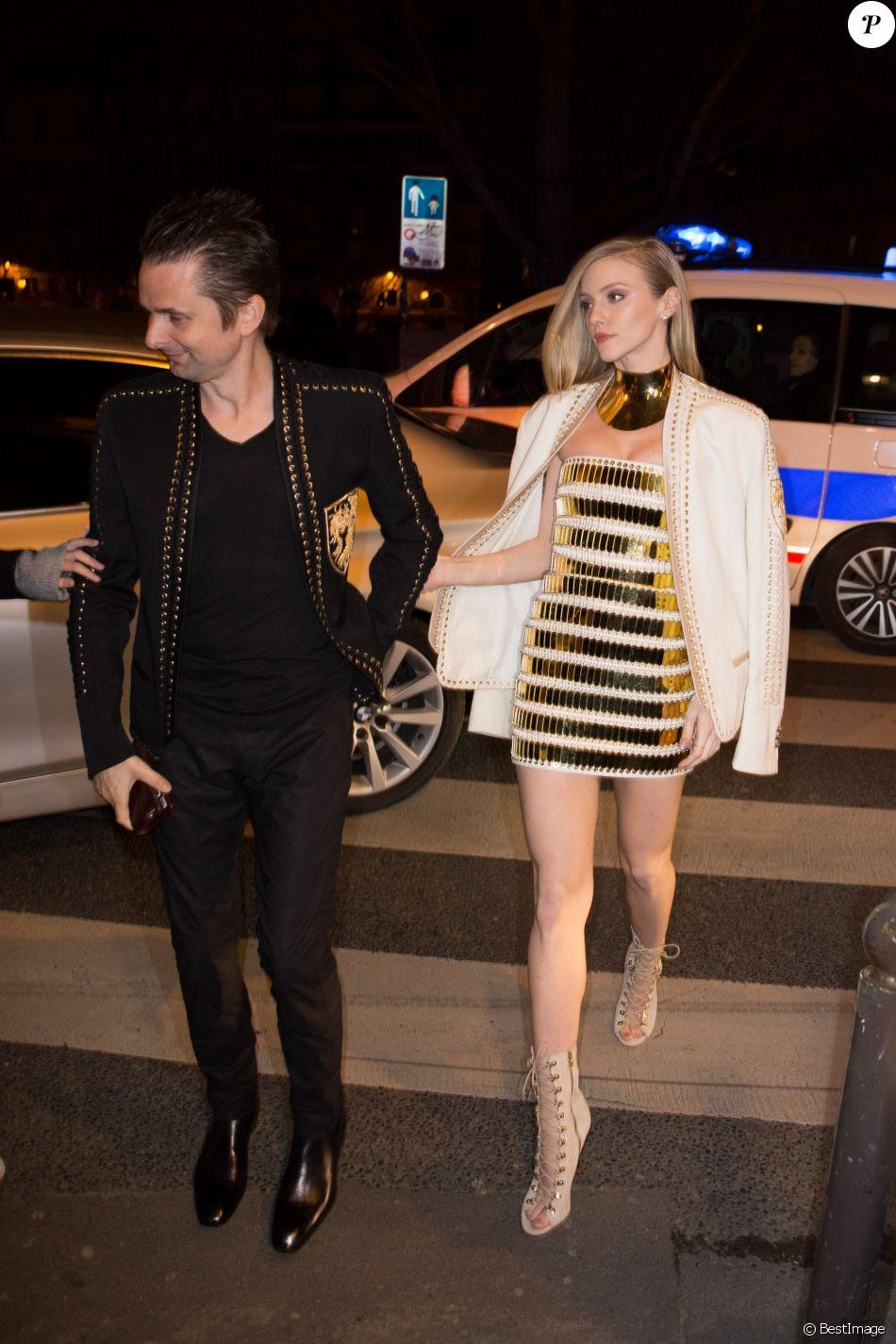 Matthew (Matt) Bellamy et sa compagne Elle Evans - People à la soirée Balmain au restaurant Lapérouse à Paris. Le 3 mars 2016