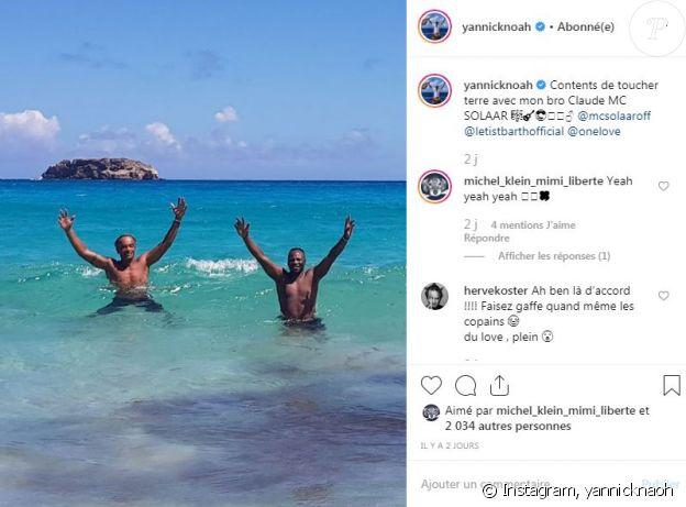Yannick Noah se baigne avec MC Solaar à Saint-Barthélemy le 12 août 2019.