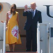 Melania Trump en jaune pour son arrivée à Biarritz, avant un sommet tendu