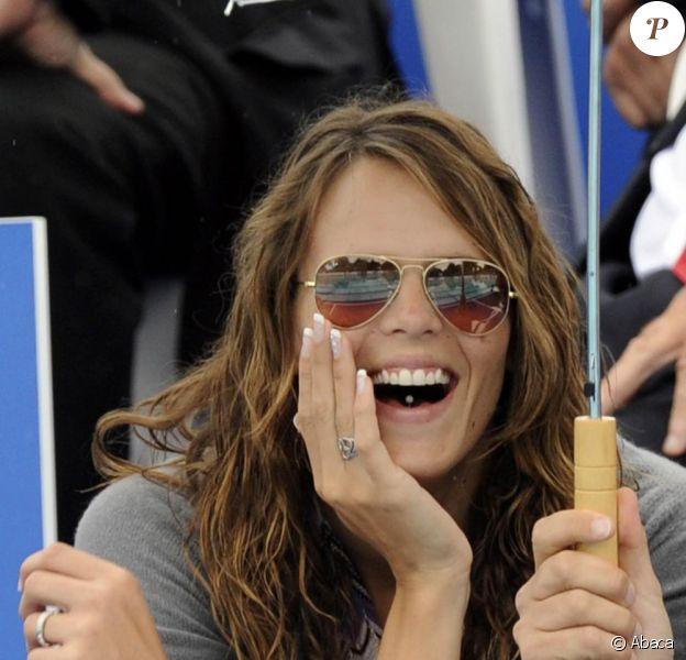Laure Manaudou soutient son amoureux Frédéric Bousquet au 3e Open EDF de natation. Elle est accompagnée de son avocat Didier Poulmaire. 20/06/09