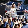 Mariage de Thomas Hollande et de la journaliste Emilie Broussouloux l'église de Meyssac en Corrèze, près de Brive, ville d'Emilie. Le 8 Septembre 2018. © Patrick Bernard-Guillaume Collet / Bestimage