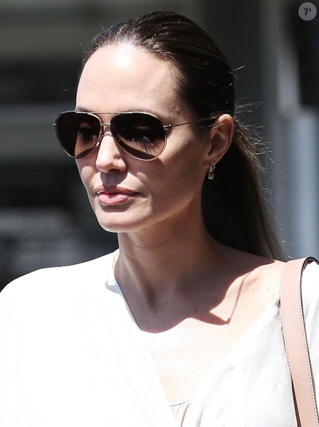 Angelina Jolie et sa fille V.Jolie-Pitt sont allées faire quelques courses dans une animalerie à Los Angeles, le 4 aout 2019.
