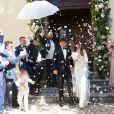 """Exclusif - Arrivées et sorties du mariage religieux de Karine Ferri et Yoann Gourcuff à l'église de La Motte, France, le 8 juin 2019. Après 8 ans de vie commune et deux enfants, Karine et Yoann se sont dit """"oui"""" lors d'une sublime cérémonie ce samedi pendant ce beau week-end de Pentecôte ensoleillé, entourés de leurs familles et de leurs amis. Le père Michel Klakus a célébré la messe. Karine porte une robe en dentelle blanche Celestina Agostino, une bague et une paire de boucles d'oreilles Cartier, son mari Yoann porte un costume Giorgio Armani. L'agence Les Têtes Chercheuses s'est occupée du wedding planning. C'est au domaine des Grottes que le repas de noces et la soirée se sont déroulés."""