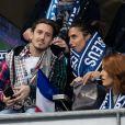 Alessandra Sublet et son nouveau compagnon Jordan, Maëva Coucke (Miss France 2018) - People assistent au match des éliminatoires de l'Euro 2020 entre la France et l'Islande au Stade de France à Saint-Denis le 25 mars 2019. La france a remporté le match sur le score de 4-0.25/03/2019 - Paris