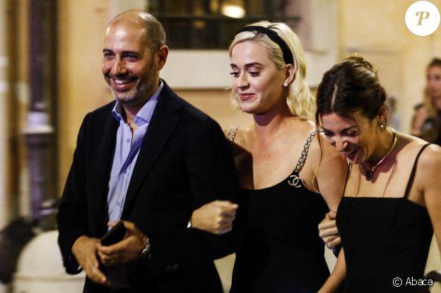 Katy Perry et son fiancé Orlando Bloom au dîner de répérition du mariage de la styliste Misha Nonoo, amie proche de Meghan Markle. A Rome, le 19 septembre 2019.