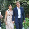 Le prince Harry et Meghan Markle (en robe Nonie) se rendent à la réception des industries créatives et des entreprises à Johannesburg, le 2 octobre 2019.