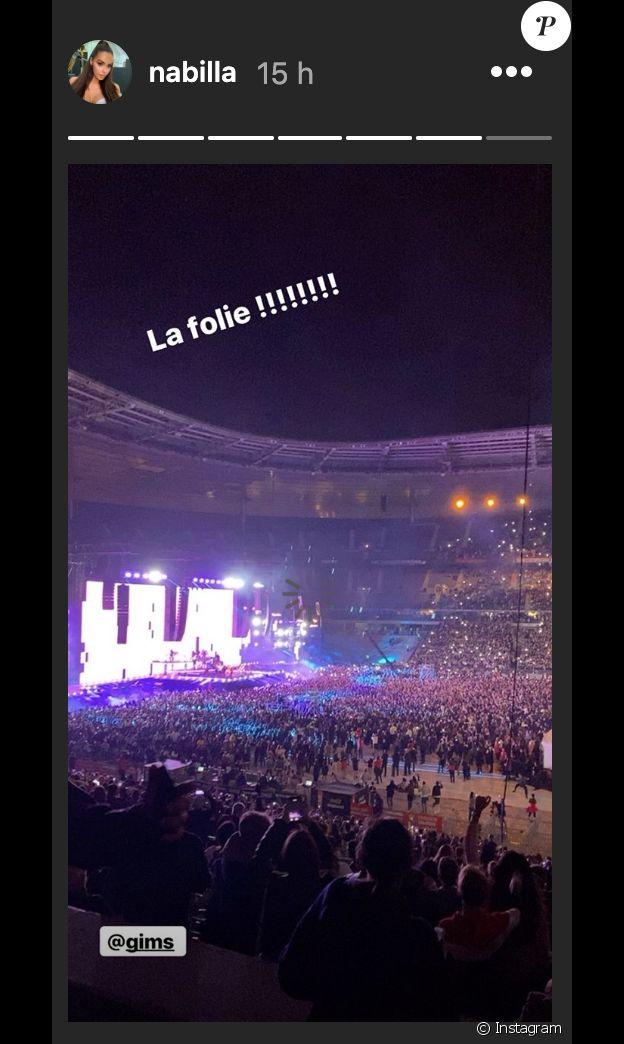Nabilla a assisté au concert de Maître Gims le 28 septembre 2019 au Stade de France.