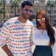 Samir Benzema et sa fiancée Mélanie à Monte-Carlo, le 25 août 2019