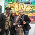 L'artiste Kongo (Cyril Phan), Eric Cherki et Jack Nicolini (Las Noches Ibiza) - Vernissage de l'exposition de l'artiste l'artiste Kongo (Cyril Phan) au Montaigne Market à Paris le 17 octobre 2019. © Jerémy Melloul/ Bestimage