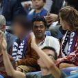 Jamel Debbouze, sa femme Mélissa Theuriau et leur fils Léon dans les tribunes du stade de France lors du match de ligue des nations opposant la France à l'Allemagne à Saint-Denis, Seine Saint-Denis, France, le 16 octobre 2018. La France a gagné 2-1.