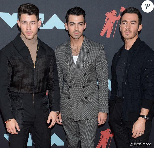 Nick Jonas, Joe Jonas, Kevin Jonas (The Jonas Brothers) - Photocall de la cérémonie des MTV Video Music Awards (MTV VMA's) au Prudential Center à Newark dans le New Jersey, le 26 août 2019.