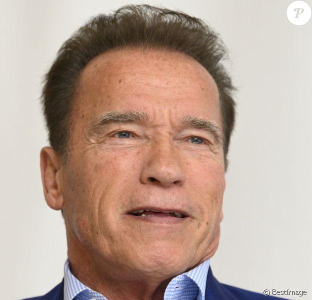 """Arnold Schwarzenegger lors de la conférence de presse du film """"Terminator: Dark Fate"""" à l'Hôtel Four Seasons à Beverly Hills, le 11 octobre 2019."""