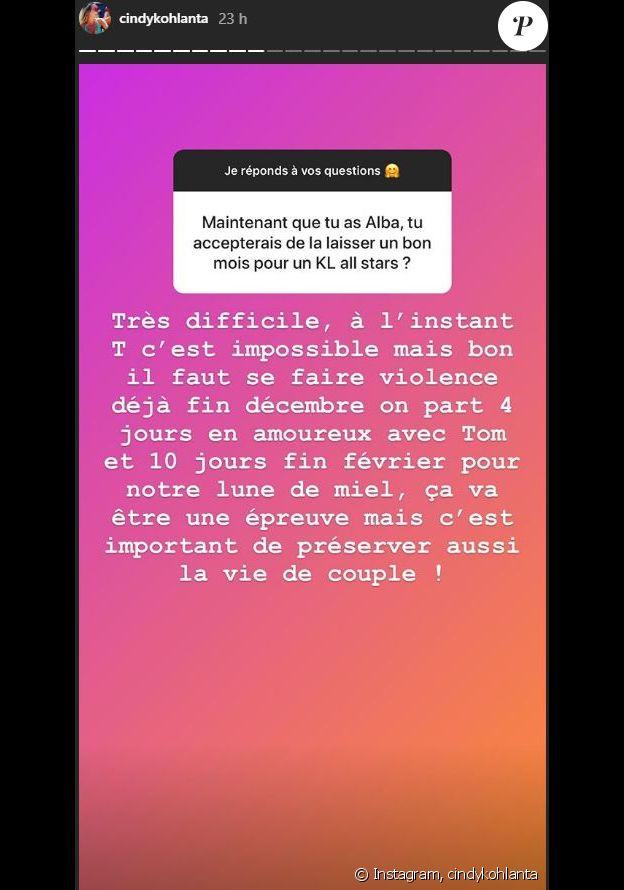 """Cindy de """"Koh-Lanta"""" se confie sur sa fille Alba, le 30 octobre 2019, sur Instagram"""